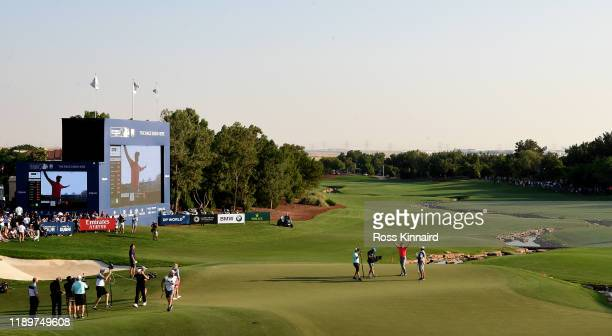Jon Rahm of Spain celebrates after his winning putt during the final round of the DP World Tour Championship Dubai at Jumeirah Golf Estates on...