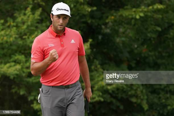 Jon Rahm of Spain celebrates after making a putt for birdie on the 16th green during the final round of the BMW Championship on the North Course at...