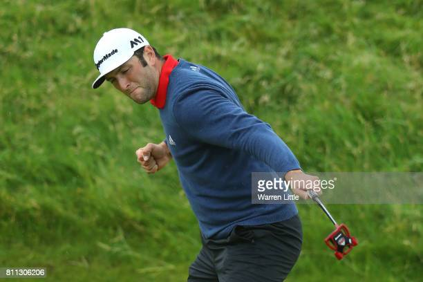 Jon Rahm of Spain celebrates an eagle on the 14th hole during the final round of the Dubai Duty Free Irish Open at Portstewart Golf Club on July 9,...