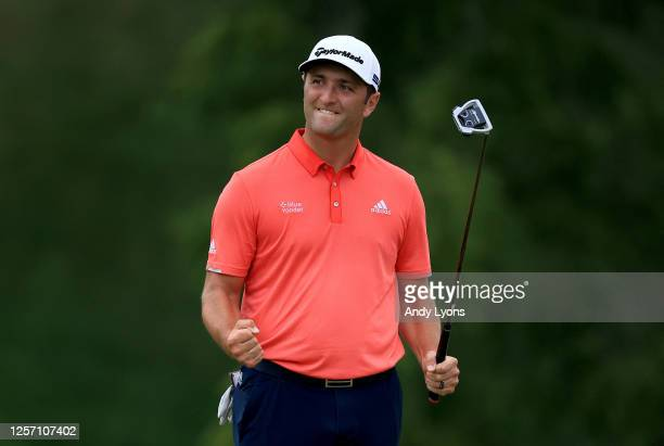 Jon Rahm of Spain celebrates on the 18th green after winning during the final round of The Memorial Tournament on July 19, 2020 at Muirfield Village...