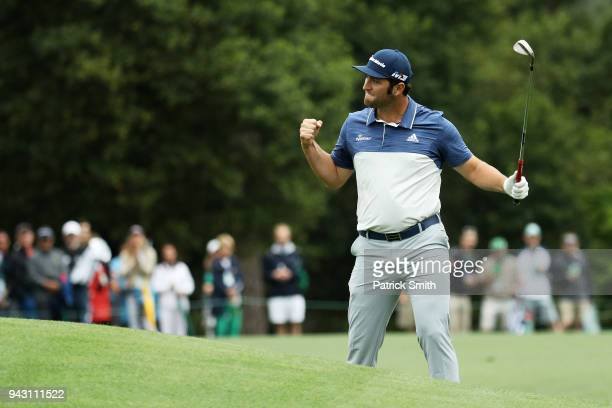 Jon Rahm of Spain celebrates on the eighth hole during the third round of the 2018 Masters Tournament at Augusta National Golf Club on April 7 2018...