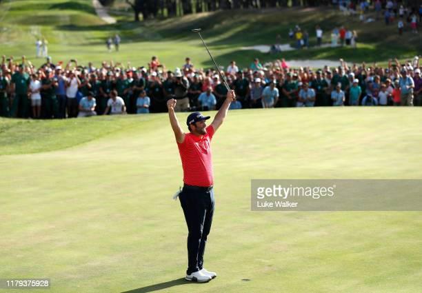 Jon Rahm of Spain celebrates winning the Open de Espana during Day four of the Open de Espana at Club de Campo Villa de Madrid on October 06 2019 in...