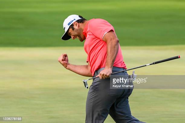 Jon Rahm of Spain celebrates with a fist pump after making a birdie putt on the 18th hole during a playoff in the final round of the BMW Championship...