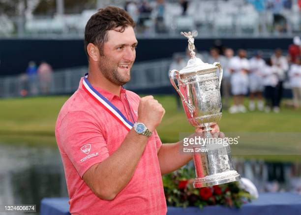 Jon Rahm of Spain celebrates with the trophy after winning the final round of the 2021 U.S. Open at Torrey Pines Golf Course on June 20, 2021 in San...