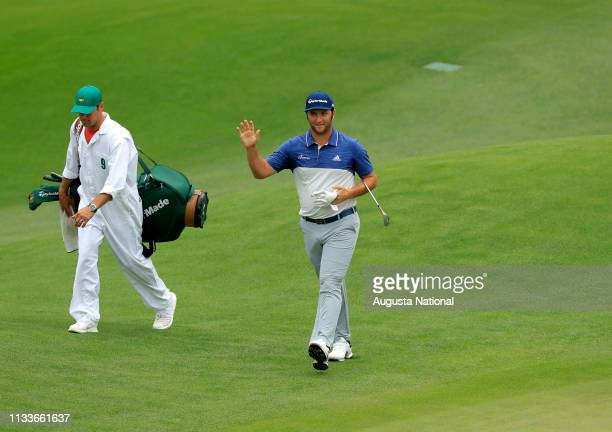 Jon Rahm of Spain chips in for eagle on Hole No 8 during the third round of the Masters at Augusta National Golf Club Saturday April 7 2018