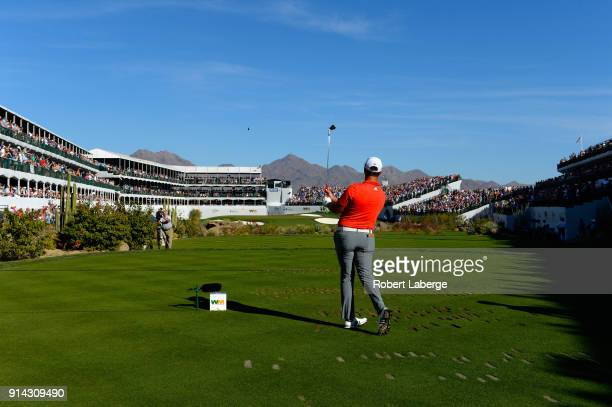 Jon Rahm of Spain hit his tee shot on the 16th hole during the final round of the Waste Management Phoenix Open at TPC Scottsdale on February 4, 2018...