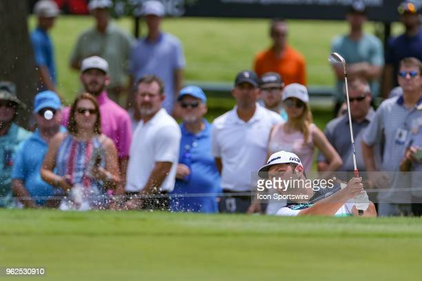 Jon Rahm of Spain hits from the green side bunker during the second round of the Fort Worth Invitational on May 25 2018 at Colonial Country Club in...