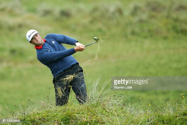 Jon Rahm of Spain hits his second shot on the 17th hole during the final round of the Dubai Duty Free Irish Open at Portstewart Golf Club on July 9...