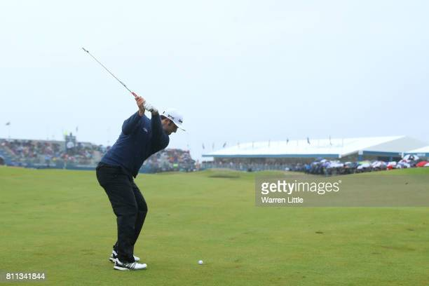 Jon Rahm of Spain hits his second shot on the 18th hole during the final round of the Dubai Duty Free Irish Open at Portstewart Golf Club on July 9...