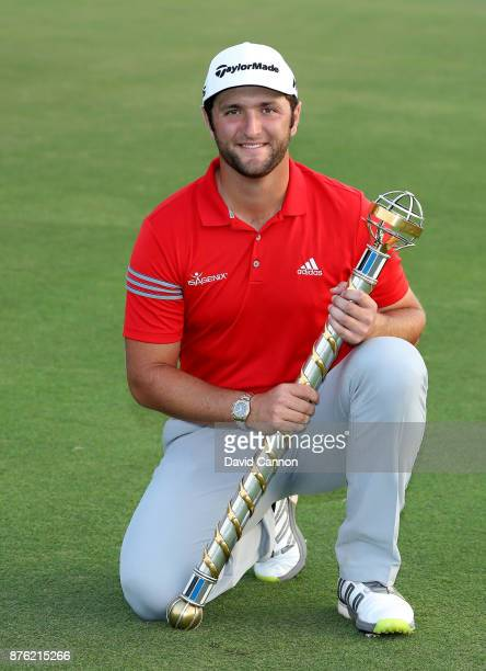 Jon Rahm of Spain holds the DP World Tour Championship trophy after his victory during the final round of the 2017 DP World Tour Championship on the...
