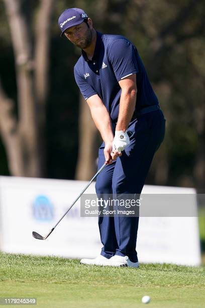 Jon Rahm of Spain in action during Day 3 of the Open de Espana at Club de Campo Villa de Madrid on October 05, 2019 in Madrid, Spain.