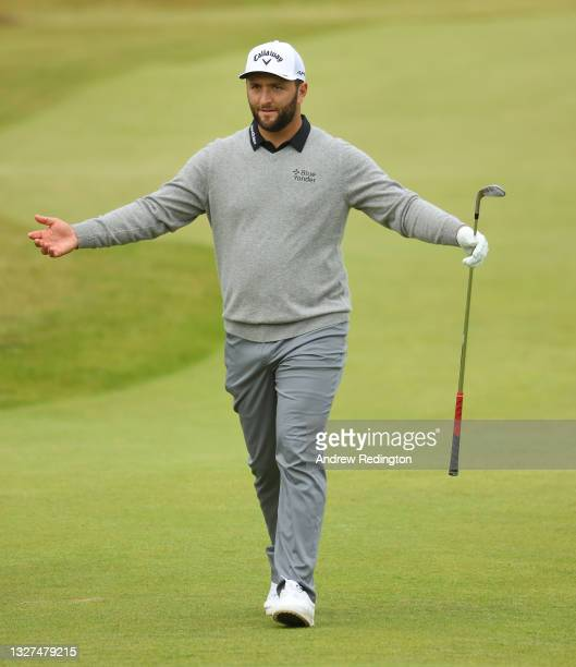 Jon Rahm of Spain in action during the Pro Am event prior to the abrdn Scottish Open at The Renaissance Club on July 07, 2021 in North Berwick,...