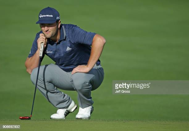 Jon Rahm of Spain lines up a putt during the first round of the CareerBuilder Challenge at La Quinta Country Club on January 18 2018 in La Quinta...