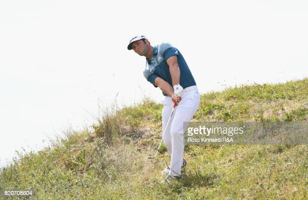Jon Rahm of Spain on the 17th hole during the third round of the 146th Open Championship at Royal Birkdale on July 22 2017 in Southport England