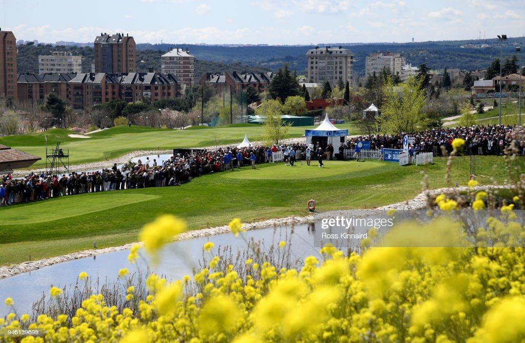 Jon Rahm of Spain on the first tee during the third round of the Open de Espana at Centro Nacional de Golf on April 14, 2018 in Madrid, Spain.
