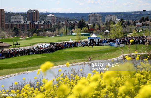 Jon Rahm of Spain on the first tee during the third round of the Open de Espana at Centro Nacional de Golf on April 14 2018 in Madrid Spain