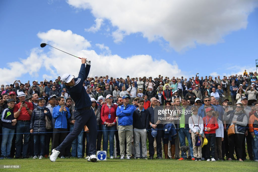 Jon Rahm of Spain on the second tee during the third round of the Open de Espana at Centro Nacional de Golf on April 14, 2018 in Madrid, Spain.