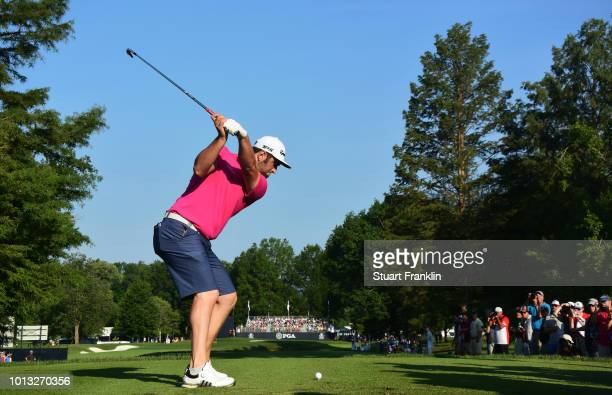 Jon Rahm of Spain plays a shot during a practice round prior to the 2018 PGA Championship at Bellerive Country Club on August 8 2018 in St Louis...