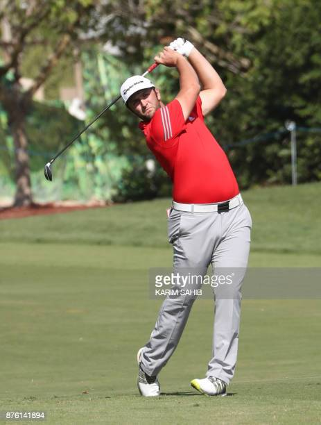Jon Rahm of Spain plays a shot during the final round of the DP World Tour Golf Championship at Jumeirah Golf Estates on November 19 in Dubai / AFP...