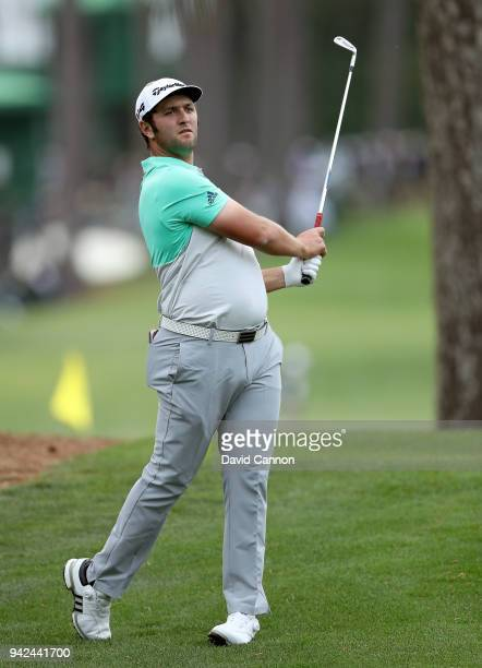 Jon Rahm of Spain plays a shot during the first round of the 2018 Masters Tournament at Augusta National Golf Club on April 5 2018 in Augusta Georgia