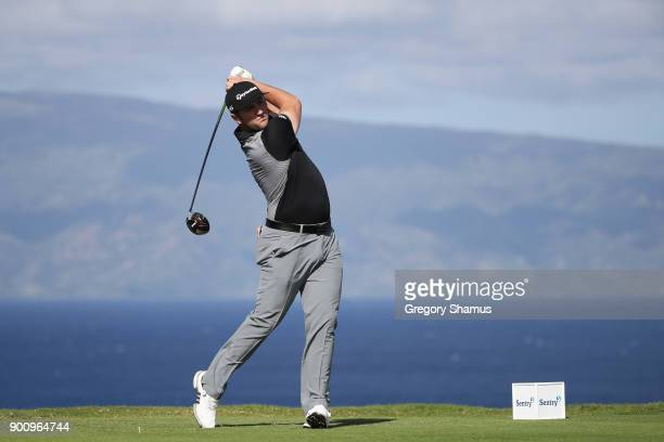 Jon Rahm of Spain plays a shot during the proam tournament prior to the Sentry Tournament of Champions at Plantation Course at Kapalua Golf Club on...