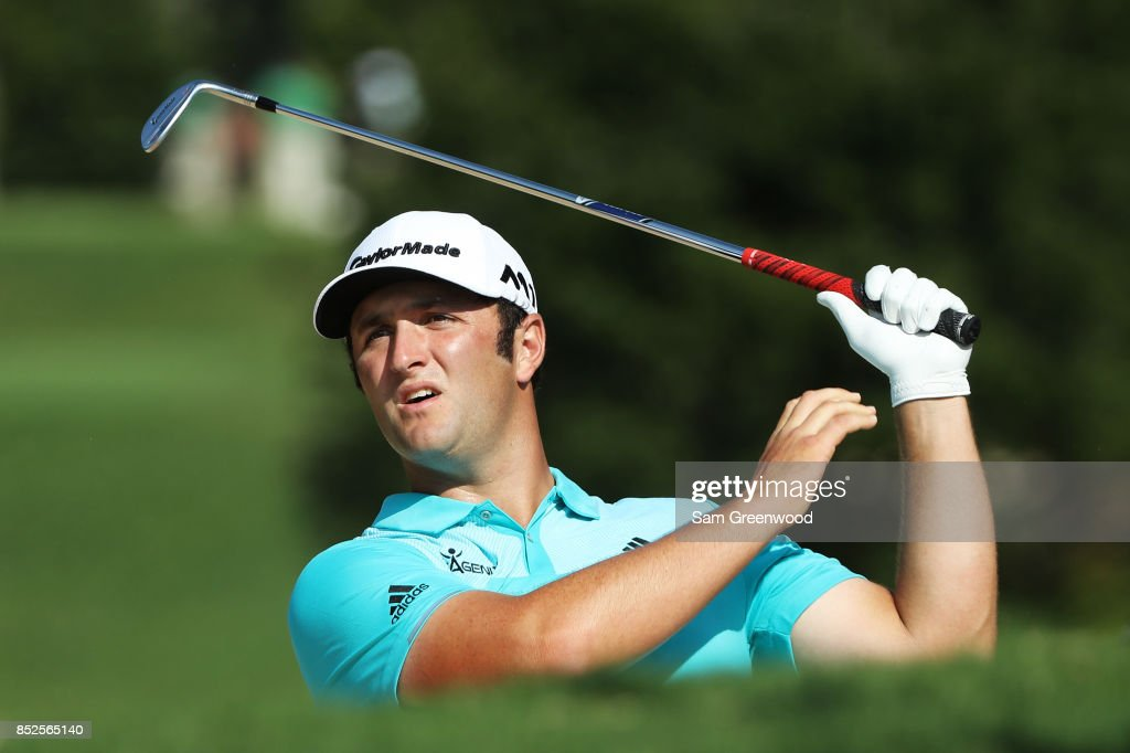 Jon Rahm of Spain plays a shot during the third round of the TOUR Championship at East Lake Golf Club on September 23, 2017 in Atlanta, Georgia.