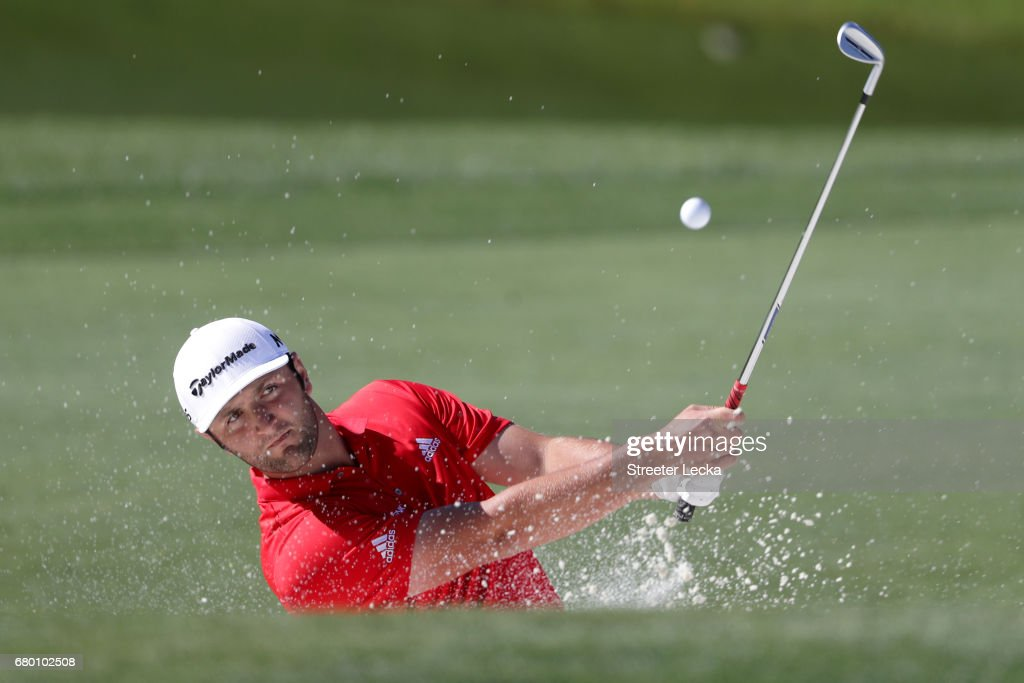 Jon Rahm of Spain plays a shot from a bunker on the 15th hole during the final round of the Wells Fargo Championship at Eagle Point Golf Club on May 7, 2017 in Wilmington, North Carolina.