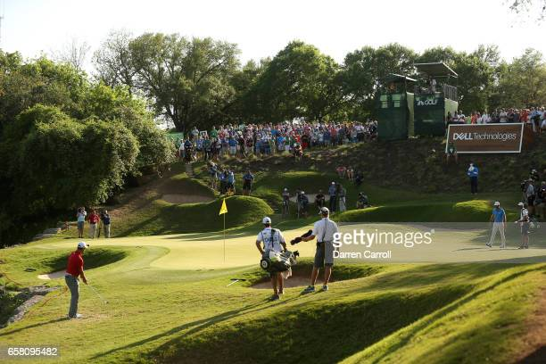 Jon Rahm of Spain plays a shot on the 17th hole during the final match of the World Golf ChampionshipsDell Technologies Match Play at the Austin...