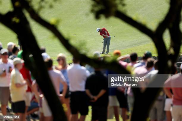Jon Rahm of Spain plays a shot on the 9th hole during the final match of the World Golf Championships-Dell Technologies Match Play at the Austin...