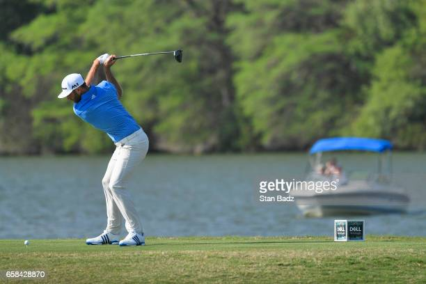 Jon Rahm of Spain plays a tee shot on the 14th hole during the championship match at the World Golf Championships Dell Technologies Match Play at...