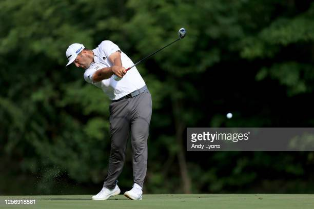 Jon Rahm of Spain plays his second shot on the 15th hole during the third round of The Memorial Tournament on July 18, 2020 at Muirfield Village Golf...