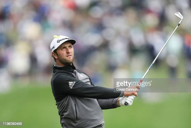 Jon Rahm of Spain plays his second shot on the par 4, 18th hole during the third round of the 2019 Players Championship held on the Stadium Course at...