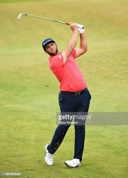 Jon Rahm of Spain plays his second shot on the seventeenth hole during Day Four of the Dubai Duty Free Irish Open at Lahinch Golf Club on July 07,...