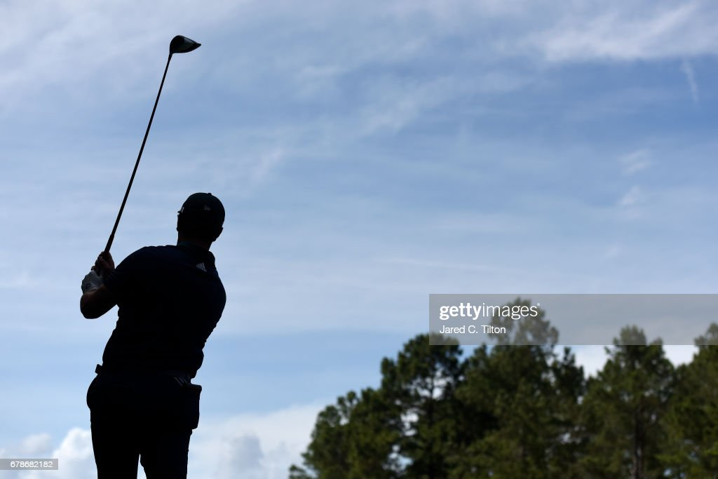 Jon Rahm of Spain plays his shot from the 11th tee during round one of the Wells Fargo Championship at Eagle Point Golf Club on May 4, 2017 in Wilmington, North Carolina.