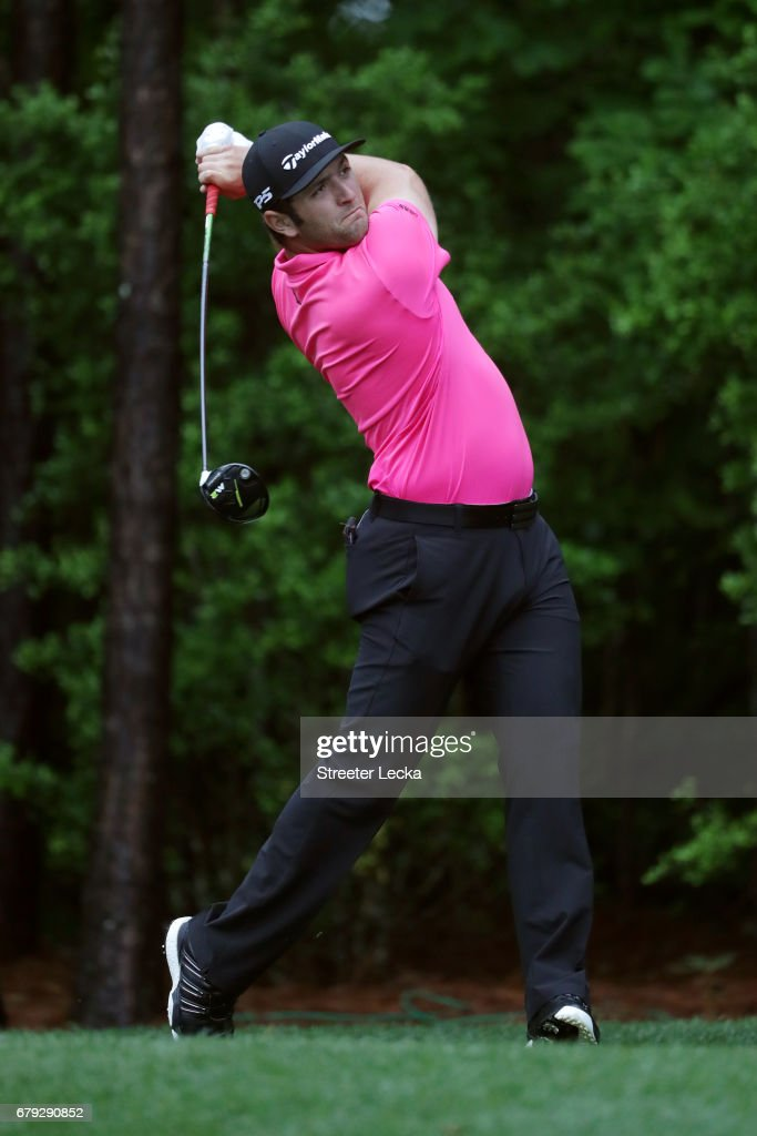Jon Rahm of Spain plays his shot from the 11th tee during round two of the Wells Fargo Championship at Eagle Point Golf Club on May 5, 2017 in Wilmington, North Carolina.