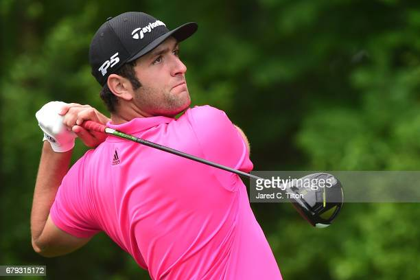 Jon Rahm of Spain plays his shot from the 11th tee during round two of the Wells Fargo Championship at Eagle Point Golf Club on May 5 2017 in...