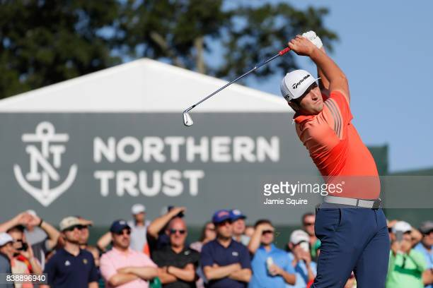 Jon Rahm of Spain plays his shot from the 11th tee during round two of The Northern Trust at Glen Oaks Club on August 25, 2017 in Westbury, New York.