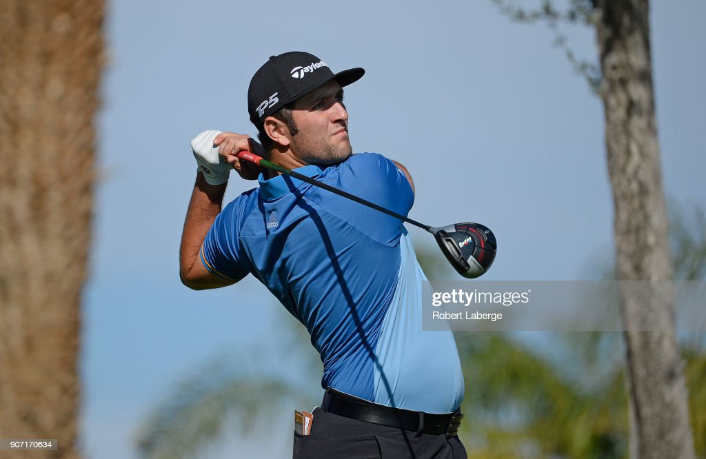 Jon Rahm of Spain plays his shot from the 11th tee during the second round of the CareerBuilder Challenge at the Jack Nicklaus Tournament Course at PGA West on January 19, 2018 in La Quinta, California.