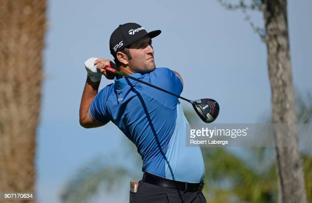 Jon Rahm of Spain plays his shot from the 11th tee during the second round of the CareerBuilder Challenge at the Jack Nicklaus Tournament Course at...