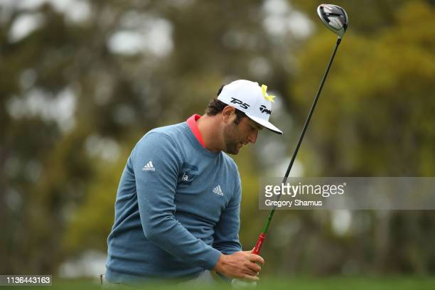Jon Rahm of Spain plays his shot from the 12th tee during the final round of The PLAYERS Championship on The Stadium Course at TPC Sawgrass on March...