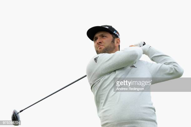 Jon Rahm of Spain plays his shot from the 12th tee during the second round of the 2018 US Open at Shinnecock Hills Golf Club on June 15 2018 in...