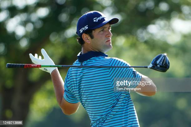Jon Rahm of Spain plays his shot from the 14th tee during the second round of the Charles Schwab Challenge on June 12 2020 at Colonial Country Club...