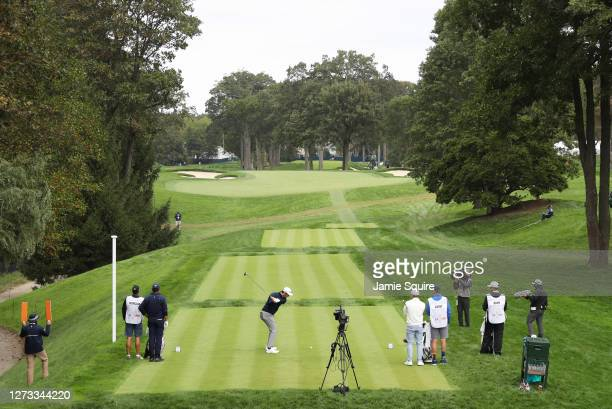 Jon Rahm of Spain plays his shot from the 14th tee during the second round of the 120th U.S. Open Championship on September 18, 2020 at Winged Foot...