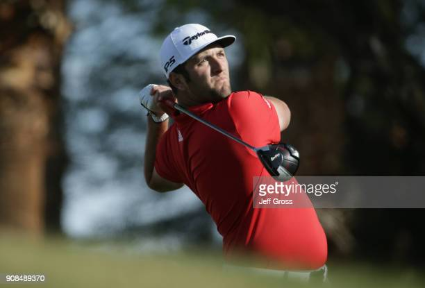 Jon Rahm of Spain plays his shot from the 15th tee during the final round of the CareerBuilder Challenge at the TPC Stadium Course at PGA West on...