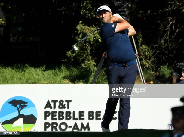 Jon Rahm of Spain plays his shot from the 16th tee during Round Two of the ATT Pebble Beach ProAm at Pebble Beach Golf Links on February 9 2018 in...