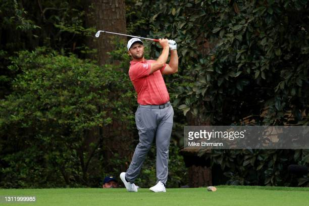 Jon Rahm of Spain plays his shot from the 16th tee during the final round of the Masters at Augusta National Golf Club on April 11, 2021 in Augusta,...