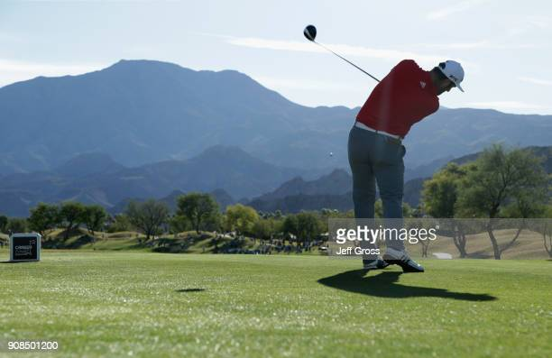 Jon Rahm of Spain plays his shot from the 16th tee during the final round of the CareerBuilder Challenge at the TPC Stadium Course at PGA West on...