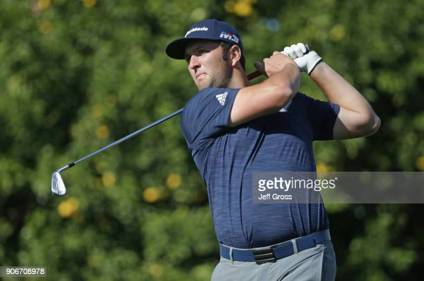 Jon Rahm of Spain plays his shot from the 16th tee during the first round of the CareerBuilder Challenge at La Quinta Country Club on January 18 2018...