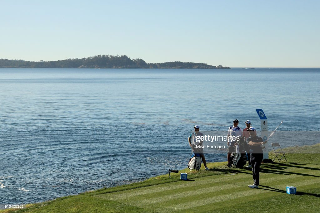 Jon Rahm of Spain plays his shot from the eighth tee during Round Two of the AT&T Pebble Beach Pro-Am at Pebble Beach Golf Links on February 9, 2018 in Pebble Beach, California.