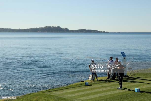 Jon Rahm of Spain plays his shot from the eighth tee during Round Two of the ATT Pebble Beach ProAm at Pebble Beach Golf Links on February 9 2018 in...